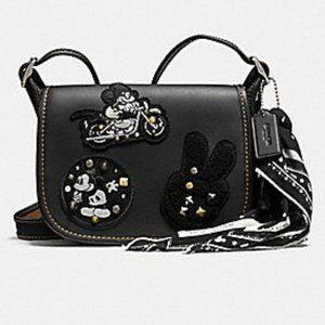 Coach Patricia Saddle  Mickey Patches Black Bag